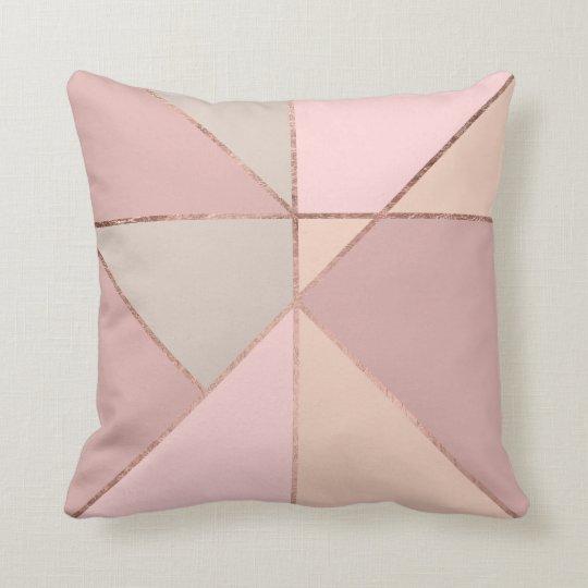 Blush Rose Throw Pillows : Modern rose gold peach tan blush colour block throw pillow Zazzle