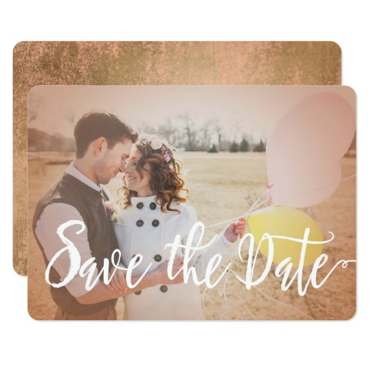 Modern Rose Gold Photo Save the Date Card