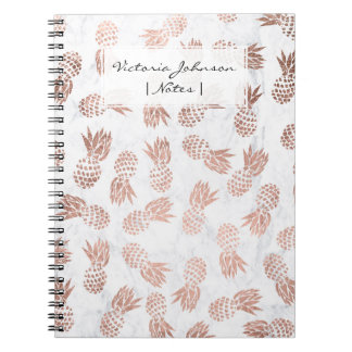 Modern rose gold pineapples pattern white marble notebooks