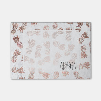 Modern rose gold pineapples pattern white marble post-it notes