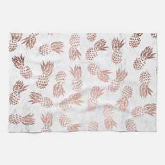 Modern rose gold pineapples pattern white marble tea towel