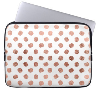 Modern rose gold polka dots brushstrokes pattern laptop computer sleeve