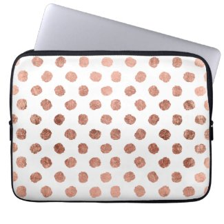 Modern rose gold polka dots brushstrokes pattern Laptop Sleeve