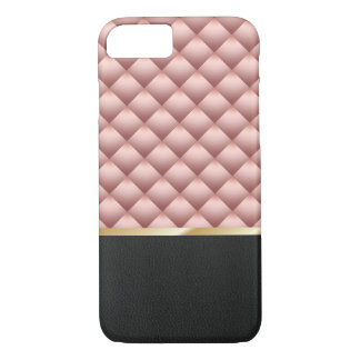 Modern Rose Gold Quilted Background Black Leather iPhone 8/7 Case