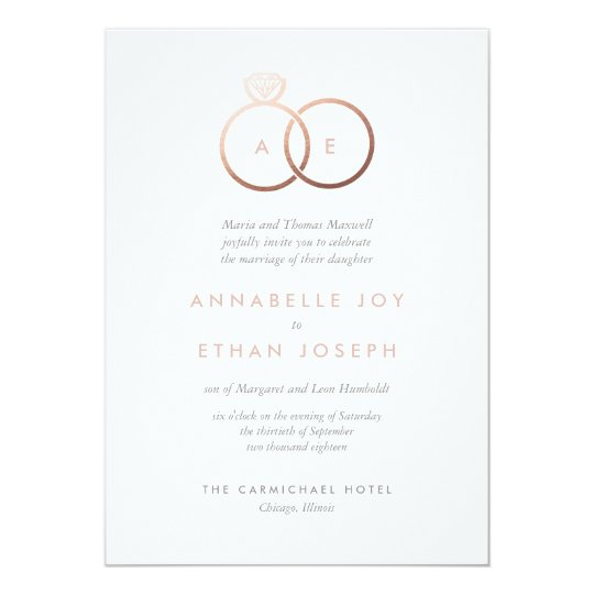 Modern Rose Gold Rings Blush Wedding Invitation