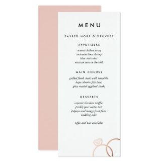 Modern Rose Gold Rings Custom Wedding Menu Card