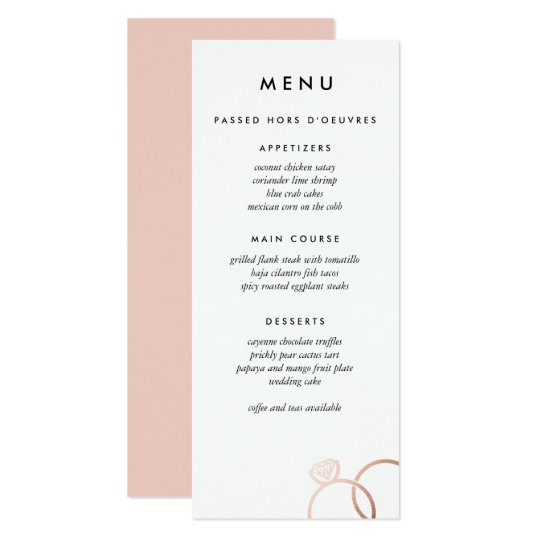 Modern Rose Gold Rings Custom Wedding Menu Card
