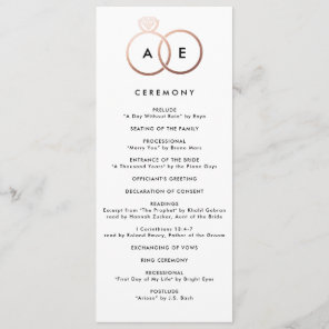 Modern Rose Gold Rings Custom Wedding Program Programme