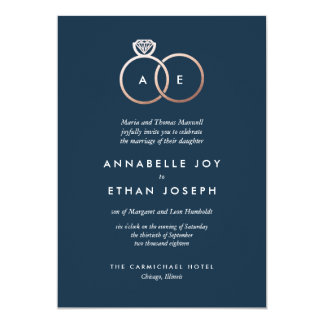 Modern Rose Gold Rings Navy Wedding Invitation