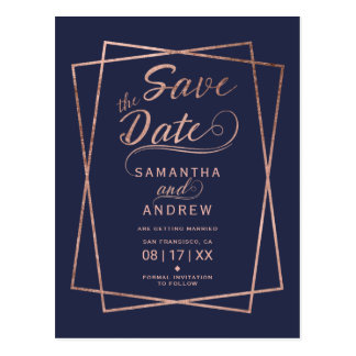 Modern rose gold script geometric save the date 2 postcard