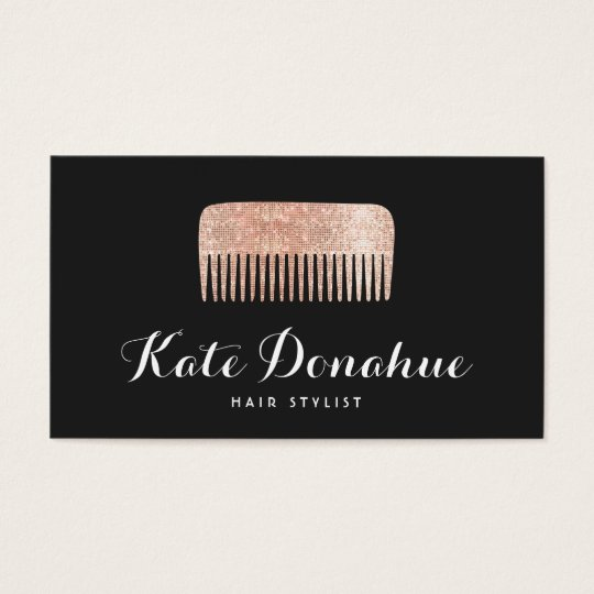 Modern Rose Gold Sequin Comb Hair Stylist Salon