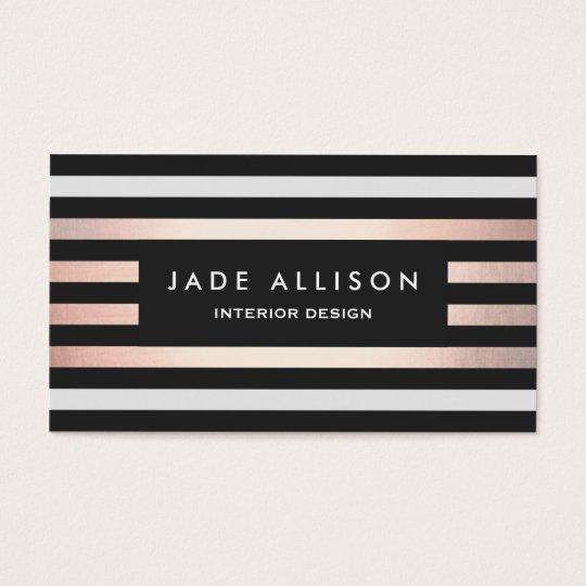 Modern Rose Gold Striped Interior Designer Business Card