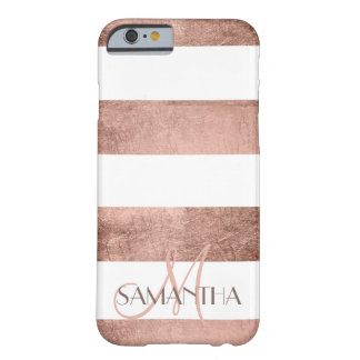 Modern rose gold stripes stylish personalized barely there iPhone 6 case