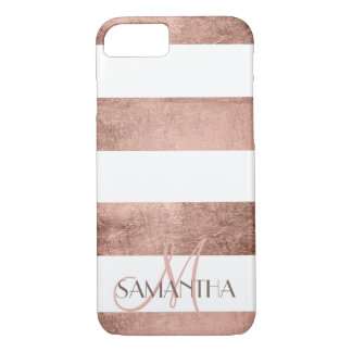 Modern rose gold stripes stylish personalized iPhone 7 case