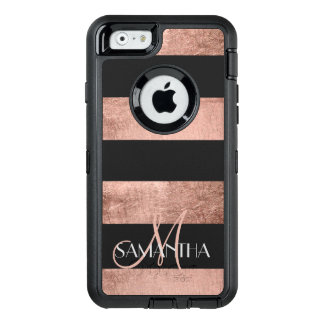 Modern rose gold stripes stylish personalized OtterBox defender iPhone case