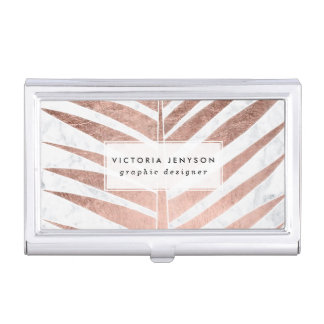 Modern rose gold tropical palm tree white marble business card holder