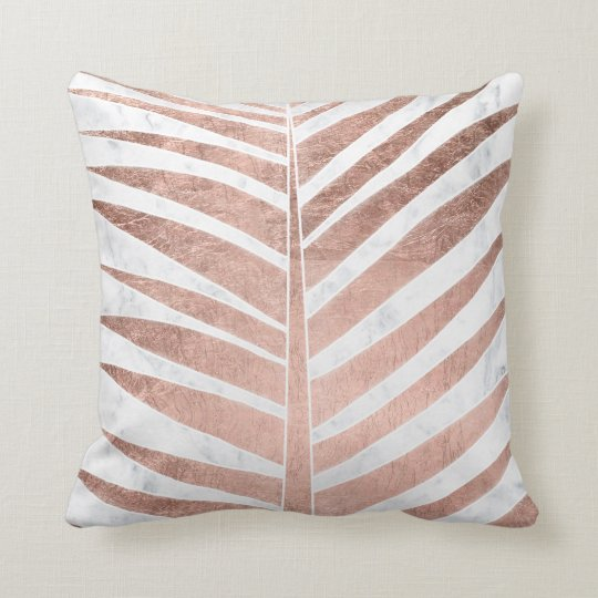 Modern rose gold tropical palm tree white marble