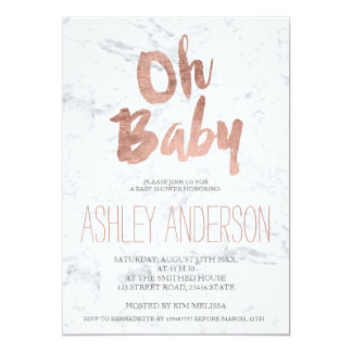Modern rose gold typography marble Baby shower 13 Cm X 18 Cm Invitation Card