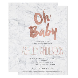Modern rose gold typography marble Baby shower Card
