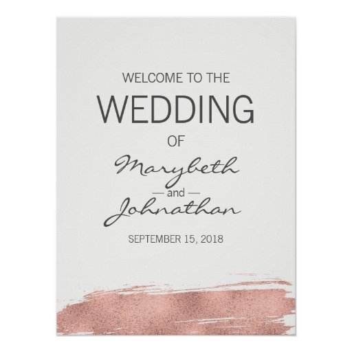Modern Rose Gold Wedding Welcome Sign Poster