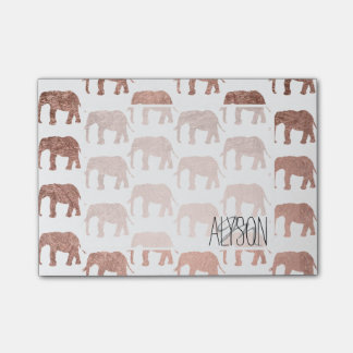 Modern rose gold wild elephants pattern post-it notes