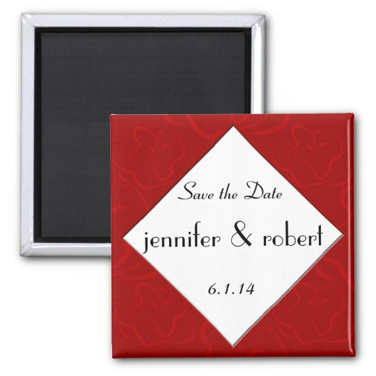 Modern Rose Graphic in Red Save the Date