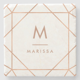 Modern Rose Pink Geometric Lines with Monogram Stone Coaster