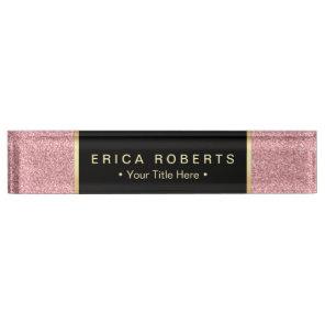 Modern Rose Pink Glitter Elegant Black Label Name Plate