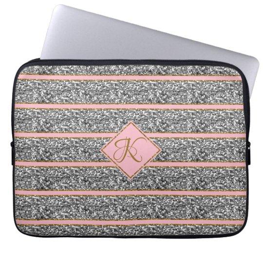 Modern Rose Silver Glitter Straps Monogrammed Laptop Sleeve