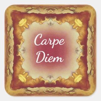 Modern Rose Yellow 'Carpe Diem' Artistic Pattern Square Sticker