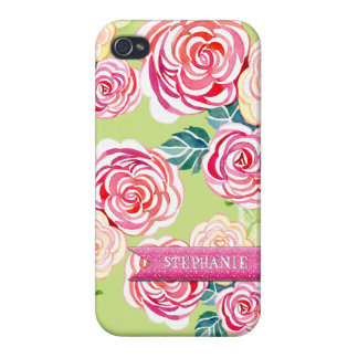 Modern Roses, Circle Flowers Mod Stylish Cool Chic iPhone 4 Cover