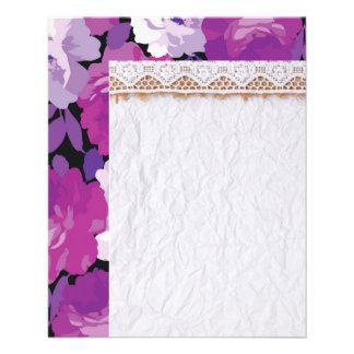 modern,roses,lavender,purple,pink,magnolia,elegant 11.5 cm x 14 cm flyer