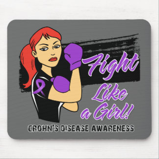 Modern Rosie Fight Like a Girl - Crohns Disease Mouse Pads