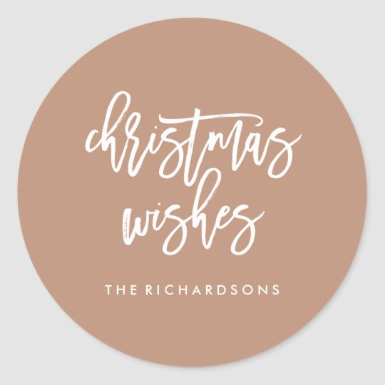 Modern Rosy Brown Typography Christmas Wishes Classic Round Sticker