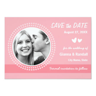 Modern rosy pink photo save the date announcement