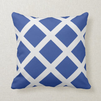 Modern Royal Blue and White Criss Cross Stripes Throw Pillow