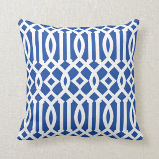 Modern Royal Blue and White Imperial Trellis Throw Pillow