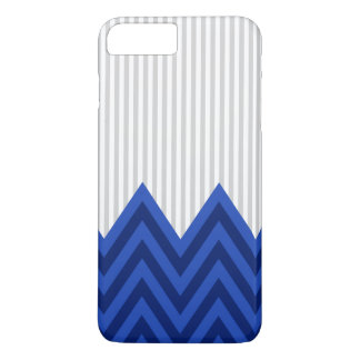 Modern Royal Blue Chevron Gray Stripes Pattern iPhone 8 Plus/7 Plus Case