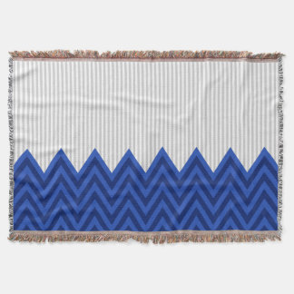 Modern Royal Blue Chevron Gray Stripes Pattern Throw Blanket