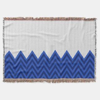 Modern Royal Blue Chevron Gray Stripes Pattern Throw Blanket