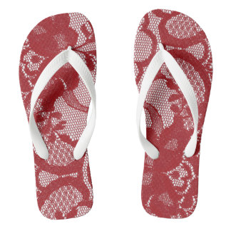 Modern Royal Red White Victorian Lace Flip Flops