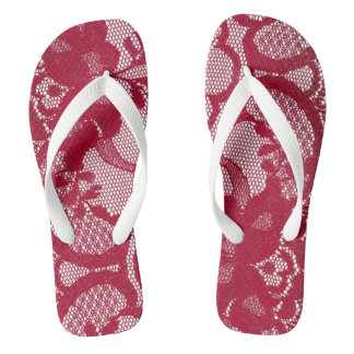 Modern Royal Red White Victorian Lace Floral Flip Flops