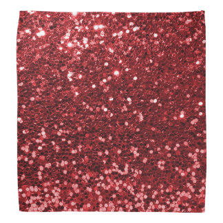 Modern Ruby Red Faux Glitter Print Bandannas