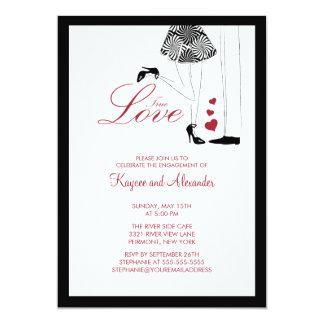 "Modern rue Love Couple Engagement Invitations 5"" X 7"" Invitation Card"