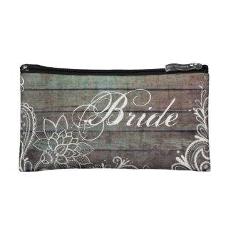 modern rustic barnwood lace bride cosmetics bags