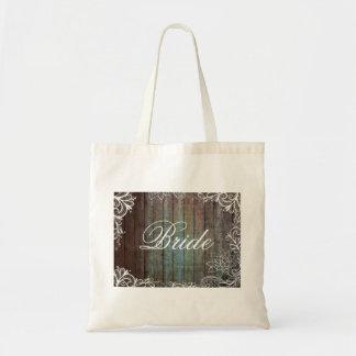 modern rustic barnwood lace bride budget tote bag
