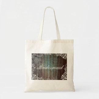 modern rustic barnwood lace bridesmaid bag