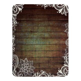 modern rustic barnwood lace country wedding card