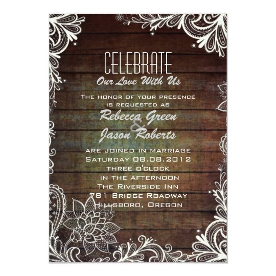 modern rustic barnwood lace country wedding card
