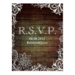 modern rustic barnwood lace country wedding RSVP
